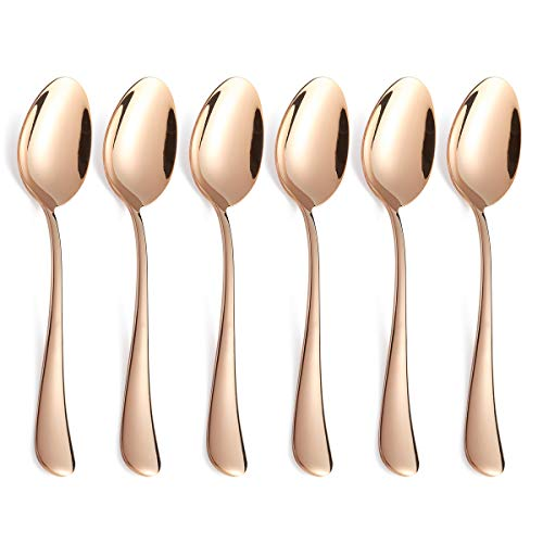- Rose Gold Dinner Spoon Set 6 Piece Copper Colored Stainless Steel Table Dessert Spoons Only Silverware Flatware Bulk Open Stock Modern Round Edge Handle 8 Inch Mirror Finish