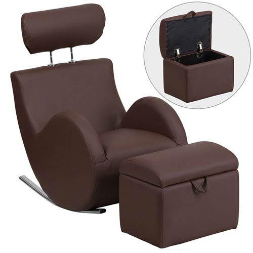 Parkside Series Brown Vinyl Rocking Chair with Storage Ottoman