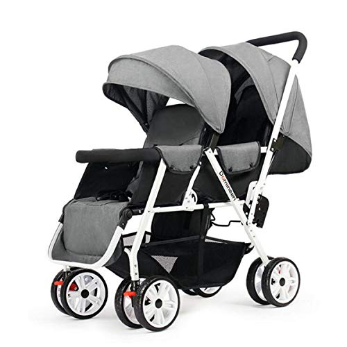 BABIFIS Twins Stroller with Removable Canopy, 1S Can Fold Baby Stroller, Portable Tandem Stroller with Mosquito Net C
