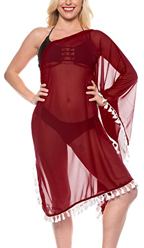 LA LEELA para Mujer Ropa de Playa del Hombro de baño Bikini Pura Encubrir Kimono marrón: Amazon.es: Ropa y accesorios