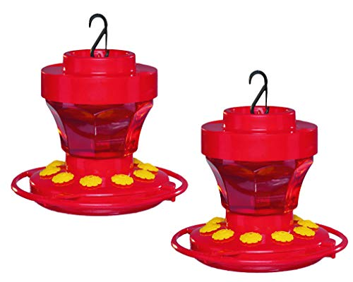 2-Pack First Nature 3091 Hummingbird Nectar Flower Feeder with Easy Cleaning 16 oz.