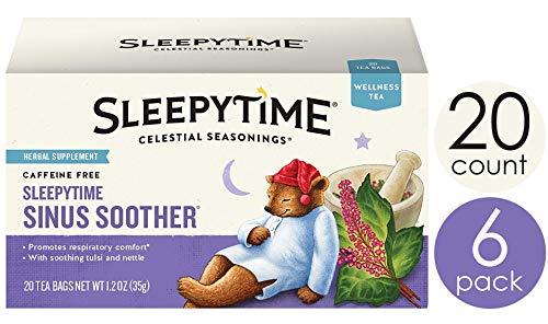 Celestial Seasonings Wellness Tea, Sleepytime Sinus Soother, 20 Count Box (Pack Of 6) (Best Tea For Congestion)