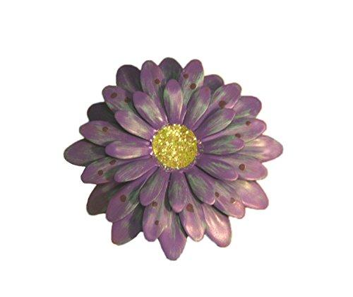 Lavender Polkadot Gerbera Daisy Magnet - Set Of 3