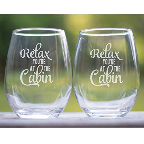 Log Home Decor Stemless Wine glasses Set of Two – Gifts for the Cabin – Retirement Gifts for Men