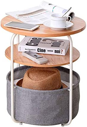 End Table with Cloth Storage Bin Metal Frame Wood Side Table 2 Layer Table for Living Room Wood