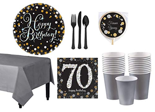 Gold and Silver 70th, 80th, 90th, or 100th Theme Birthday Party Supplies | Elegant, Classy | Includes Polka Dot Dinner Plates, Paper Cups, Napkins, Tableware, Tablecloth and Lolliopop (70th)]()