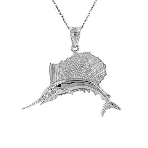 (Sea Life Collection 925 Sterling Silver Sailfish Marlin Swordfish Pendant Necklace, 18