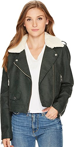 Levi's Women's Asymmetrical Banded Bottom Moto with Sherpa Collar Green Large