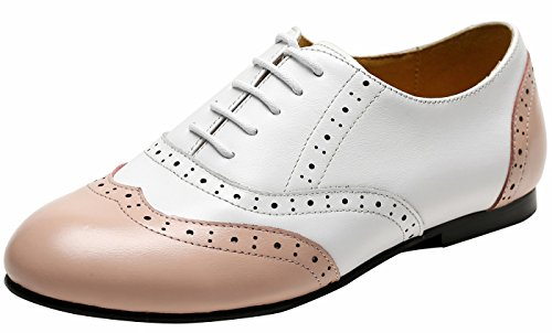 Ulite Womens Two Tone Perforated Wing Tip Lace Up Flat Oxford, Light Weight Comfortable Spring Summer Shoes WP7 White Pink