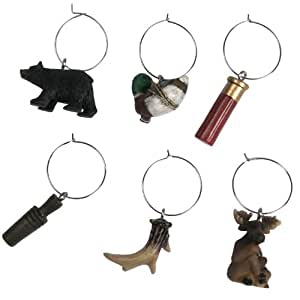 River's Edge Hunting/Outdoor Wine Charms (Pack of 6), Brown