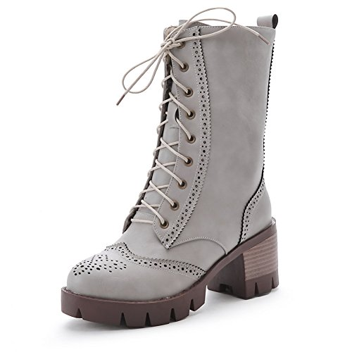 AgooLar Women's Round Closed Toe High-Heels Soft Material Low-top Solid Boots Gray