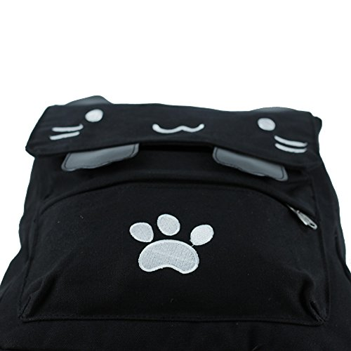 Black College Cute Cat Embroidery Canvas School Laptop Backpack Bags For Women Kids Plus Size Japanese Cartoon Kitty Paw Schoolbag Ruchsack Girls Boys Outdoor Accessories Daypack Bookbag (01White) by DemonChest (Image #8)