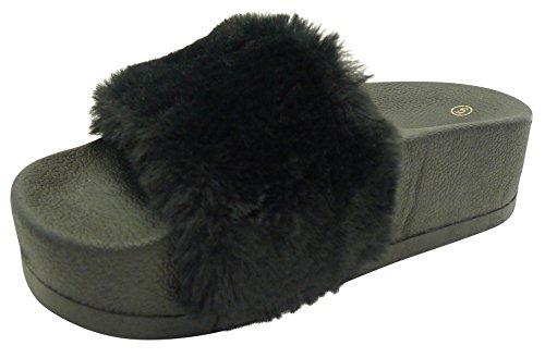 Cambridge Select Women's Faux Fur Platform Flatform Slip-On Slide Sandal (9 B(M) US, Black) (Faux Platform Fur)
