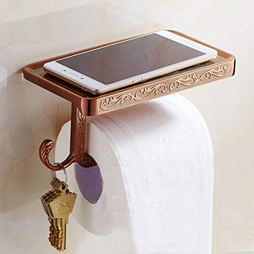 ThinkTop Antique Carving Toilet Roll Paper Holder with Phone Shelf Wall Mounted Bathroom Paper Rack and Hook-Rose Gold by ThinkTop (Image #7)
