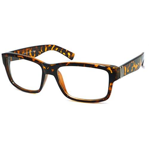 VINTAGE Designer Style Rectangle Frame Clear Lens Eyeglasses (Tortoise, - Eyeglasses Cheap Fake