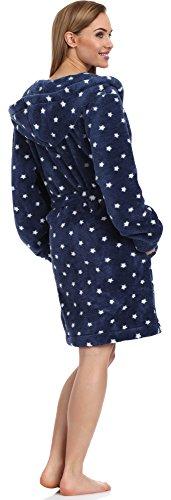 Donna Cappuccio L amp;L con Stelle Marino Short Bianco Blu Darcy Vestaglia Accappatoio 1qBpwXt