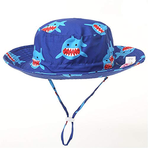 Baby Sun Hat Beach Sun Protection UPF 50+ Kid Toddler Cap Girl Boy Bucket Hat,Shark,50