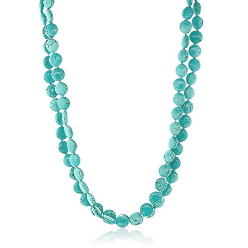 Turquoise Bead Necklace Jewelry - Gem Stone King Handmade 48inches Long Pebble Shape Simulated Turquoise Necklace
