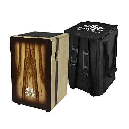Echoslap Solid Siam Oak Bass Cajon - Sandalwood, Deep Bass Tones, 3 Snare Wires for Crisp Buzz + Free Gig Bag