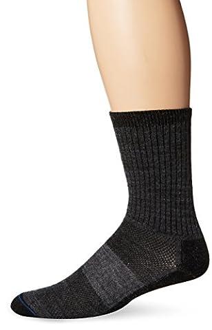 WrightSocks Double Layer Merino Wool Trail Crew Socks, LG, Grey - Anti Blister Double Layer Cool
