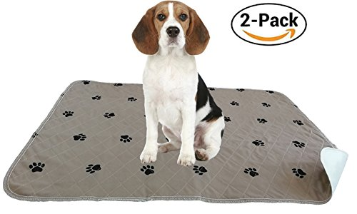 "ZISU 2 Pack Washable Dog Training Pads Large Size 30""x36"" Puppy Pads Waterproof and Reusable Pee Pads with Print for Housebreaking and Travel"