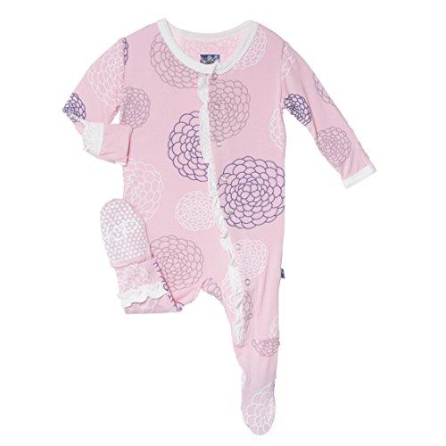 Kickee Pants Baby-Girl Ruffle Print Footie (3-6 Months, Lotus Blooms)