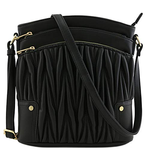 Triple Zip Pocket Large Crossbody Bag (Quilted Black) (Handbags Black Quilted)