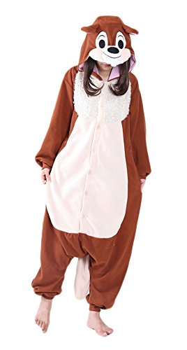 Xiqupjs Adult Onesies Animal Pajamas Cosplay Costume One Piece Halloween Sleepwear For Women Teens (L, Brown Squirrel) ()