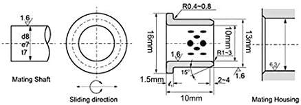 10mm Bore x 13mm OD x 10mm Length Cast Brass Bushings Flange Sleeve Bearings