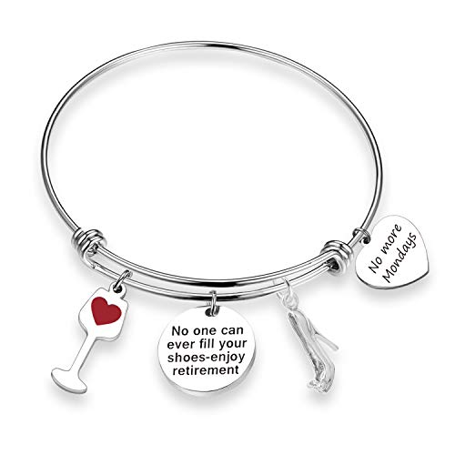 ZNTINA Retirement Bracelet No One Can Ever Fill Your Shoes Enjoy Retirement 2018 2019 Gift for Coworker, Grandma Thanksgiving Day (BR- No More Mondays)