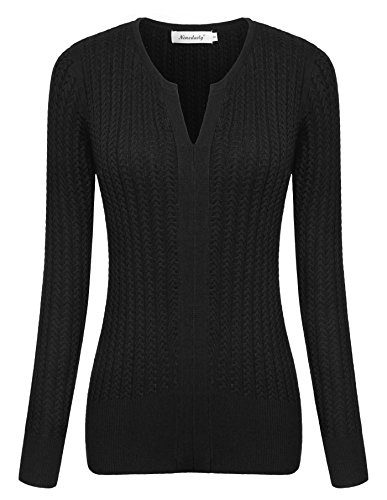 Women Shirts,Ninedaily Long Sleeve Round Collar Office Knit Sweater Black L