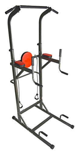 Chin Up Pull Up Dip Stand Fitness Tower Station with Heavy Duty Exercise Resistance Bands by I J Fitness