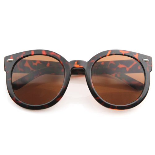 - zeroUV - Round Retro Oversized Sunglasses for Women with Colored Mirror and Neutral Lens 53mm (Tortoise/Brown)