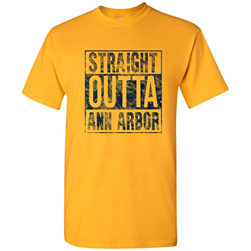 Straight Outta Ann Arbor Basic Cotton T-Shirt - X-Large - Gold by UGP Campus Apparel