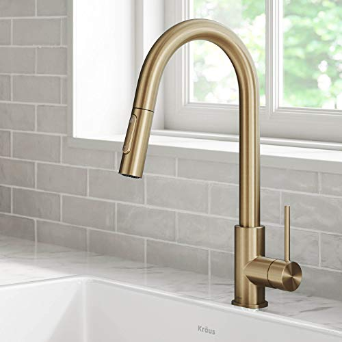 Kraus KPF-3104BG Oletto Contemporary Pull-Down Single Handle Kitchen Faucet, 16.25 inch, Brushed Gold