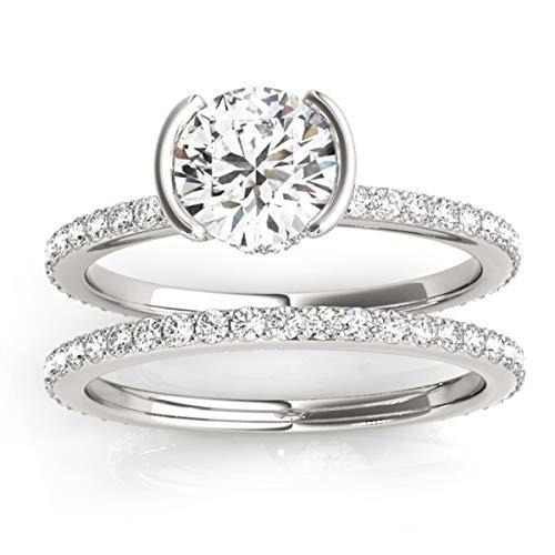 (0.56ct) Platinum Semi-Bezel Setting Bridal Set ()