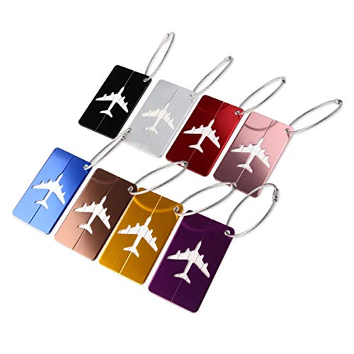 PIXNOR Metal Travel Luggage Tags Suitcase Tags with Strings Pack of 8 ()
