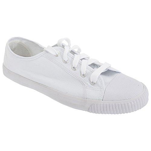 Dek Adults Unisex Lace To Toe White Canvas Plimsolls (11 US) (White)