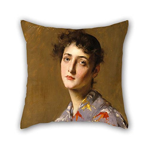 Hsdfnmnsv Oil Painting William Merritt Chase - Girl in A Japanese Costume Throw Cushion Covers 18 X 18 Inches/Best Choice for Couples Home Office Birthday Car Seat Bf Wife ()