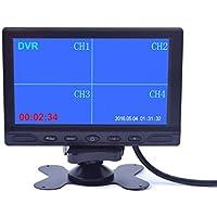 7 inch Car Truck Quad Split Monitor Built-in DVR Video Recording 4 Channels Quad Display Front/left/right/back Camera AV Input for Trailer Camper Motorhome - 12V-24V LCD Screen