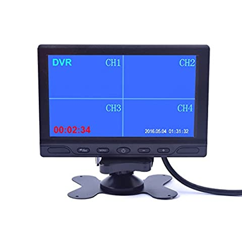 7 inch Car Truck Quad Split Monitor Built-in DVR Video Recording 4 Channels Quad Display Front/left/right/back Camera AV Input for Trailer Camper Motorhome - 12V-24V LCD (Backup Camera Multi Input)
