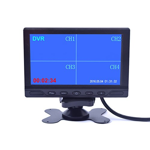 Video Input Camera Av - 7 inch Car Truck Quad Split Monitor Built-in DVR Video Recording 4 Channels Quad Display Front/left/right/back Camera AV Input for Trailer Camper Motorhome - 12V-24V LCD Screen