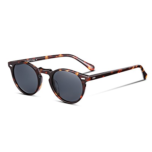 CANYEUX Vintage Round Polarized Sunglasses for Women and Men, 100% UV Protection (Tortoise Frame With Grey ()
