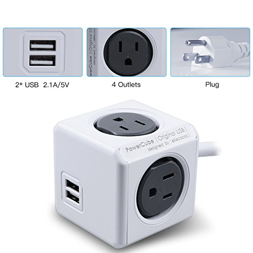 Powercube Dual Usb Port With 4 Outlets 5ft Extension Cord