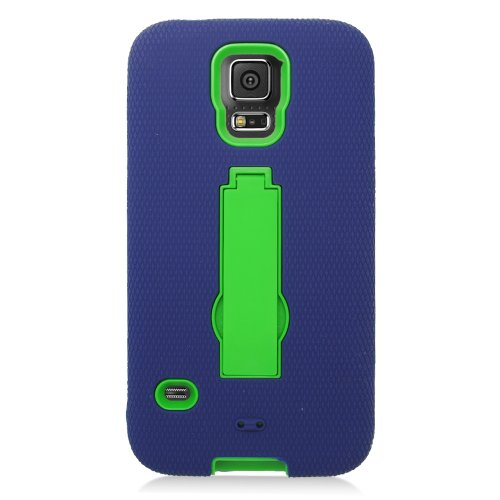 Eaglecell - Compatible with Samsung Galaxy S5 - Hybrid Armor Case w/Stand + Screen Protector - ZZ0 Green/Blue ()