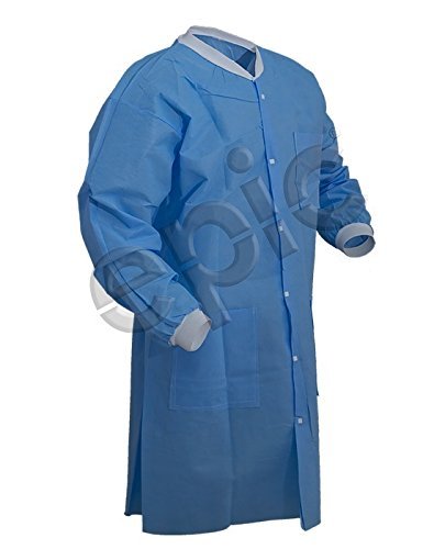 Epic 864795-M Low-Lint Cleanroom Lab Coats, SMS, Medium, Blue (Pack of ()