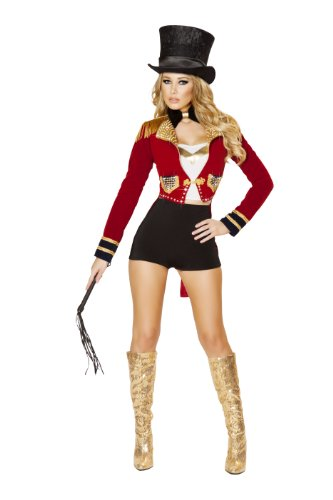 Circus Ringmaster Female Costume (Roma Costume Women's 6 piece Seductive Circus Leader, Black/Red, Large)