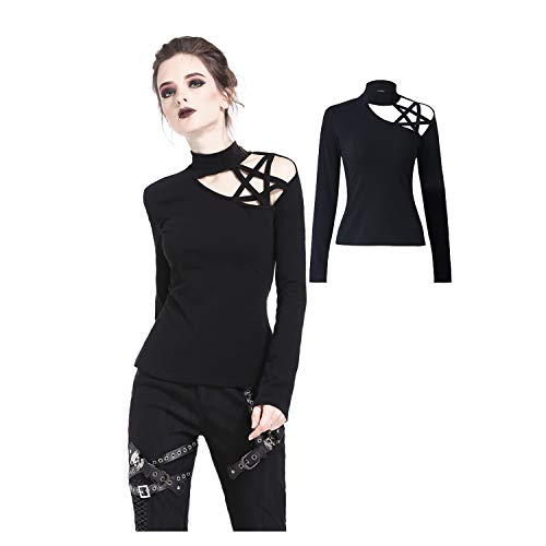 Dark in Love Women Black Gothic Punk Star Hollow Out Long Sleeve Casual Shirt Tops ()