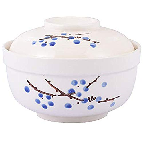 Whitenesser Ramen Bowl, Japanese Style 27.5 OZ Big Ceramic Bowl with Lid and for Soup Rice Noodle and Porridge, Microwave Oven Safety (Blue Flower)