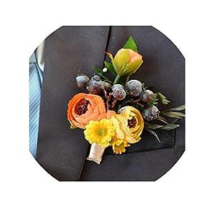 1Piece Wedding Corsage Groom Boutonniere Bride Bridesmaid Women Hand Wrist Flower Artificial Flowers Corsages Wedding Supplies,Color4 Boutonniere 60